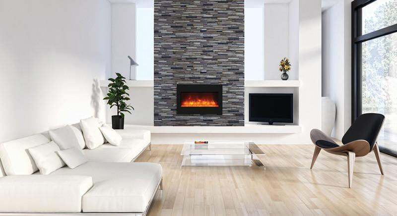 "Electric Fireplace - Amantii 36"" Built-in Zero Clearance Electric Fireplace (ZECL‐33‐3624-BG)"