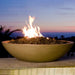 "American Fyre Designs 32"" Marseille Fire Bowl Outdoor Gas Fire Pit Lifestyle"