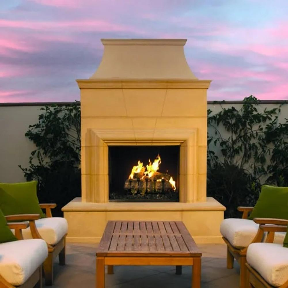"American Fyre Designs Cordova 76"" Free Standing Outdoor Gas Fireplace"