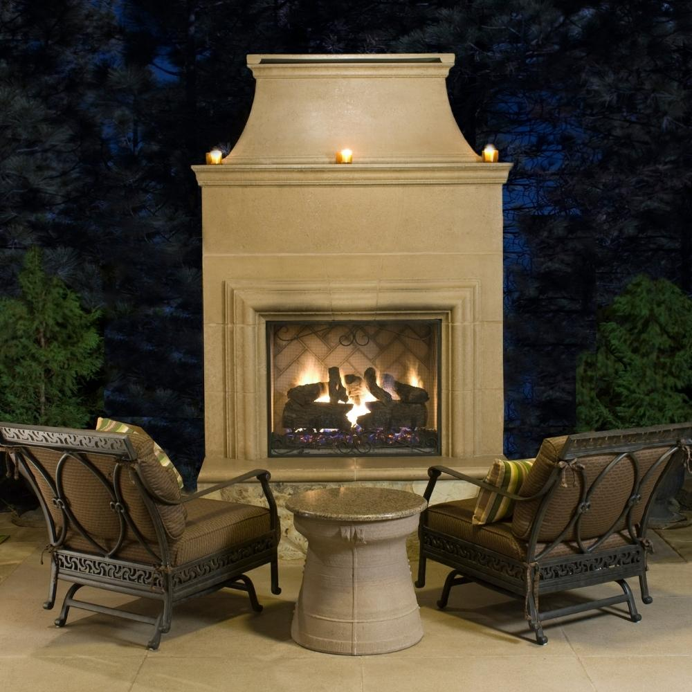 "American Fyre Designs Cordova 76"" Free Standing Outdoor Gas Fireplace Lifestyle"