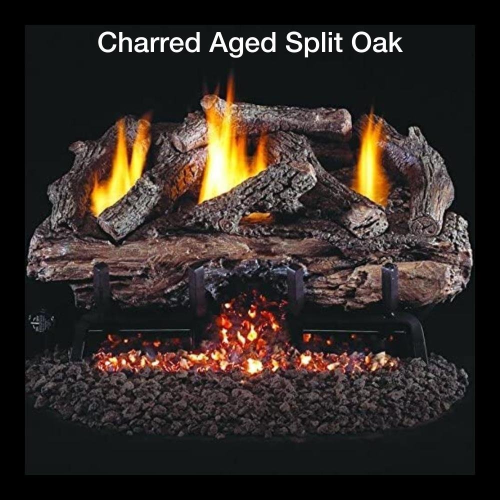 Charred Aged Split Oak Gas Log Insert