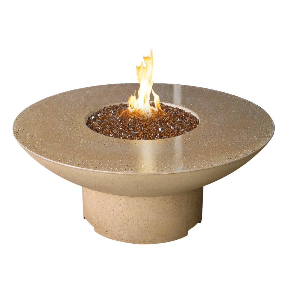 "American Fyre Designs Lotus 48"" Concrete Round Gas Fire Pit Table"