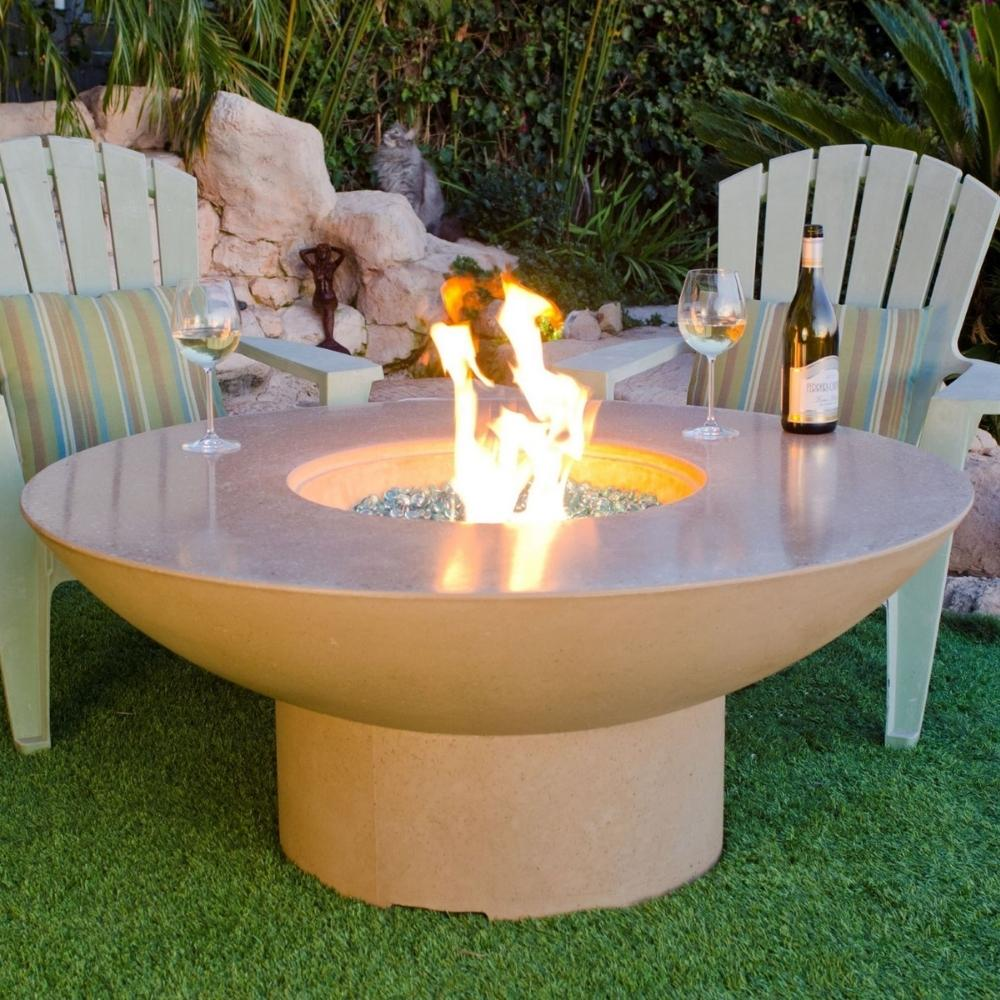 "American Fyre Designs Lotus 48"" Concrete Round Gas Fire Pit Table with Wine and Glasses"