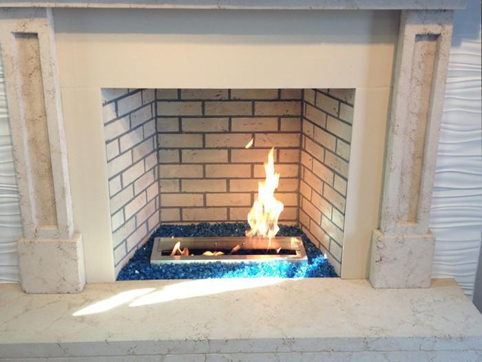 "Custom Ethanol Fireplace Built with Bio-Blaze 15"" Ethanol Fireplace Burner"