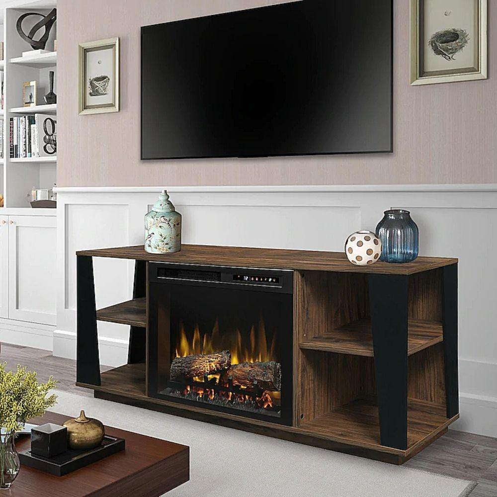 "Dimplex Arlo Media Console with Electric Fireplace for 65"" TV (GDS26L8-1918TW) with Real Logs"