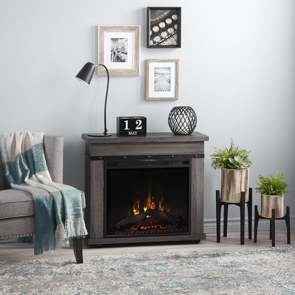 "Dimplex Morgan 32"" Electric Fireplace and Mantel Package in Living Room"