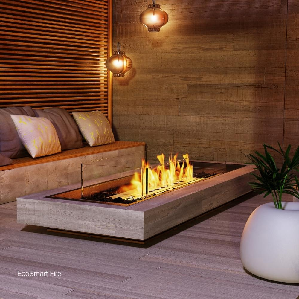 "EcoSmart Fire Linear Curved 65"" Indoor/Outdoor Fire Pit Kit Lifestyle"