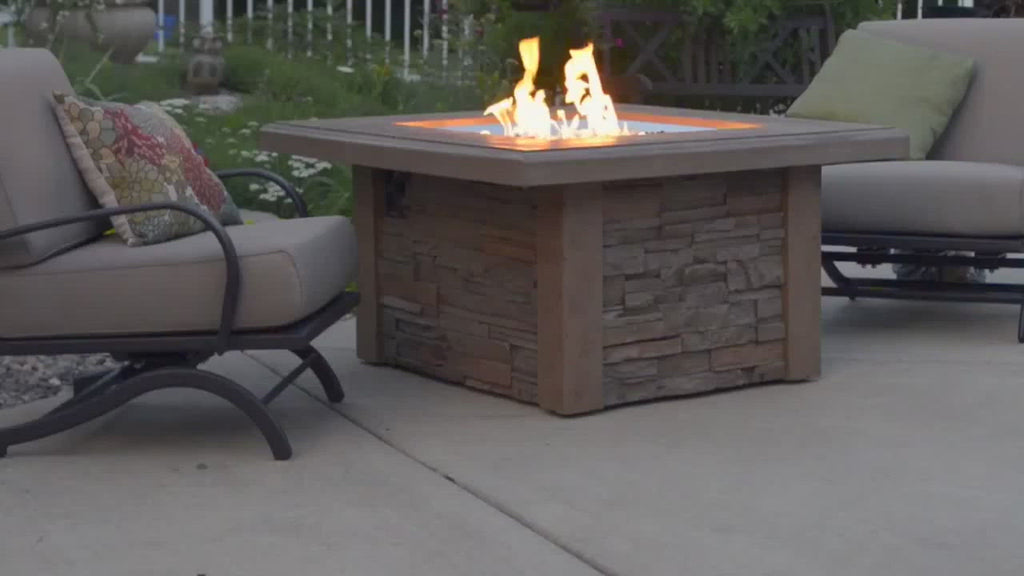 "The Outdoor GreatRoom Company Sierra 44"" Square Gas Fire Pit Table in Outdoor Patio"