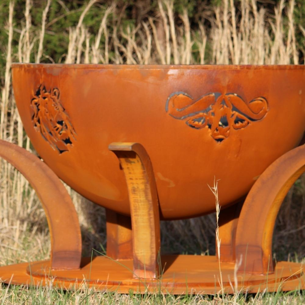 "Lion and Cape Buffalo Designs of Fire Pit Art Africa's Big Five - 41"" Unique Handcrafted Carbon Steel Fire Pit"