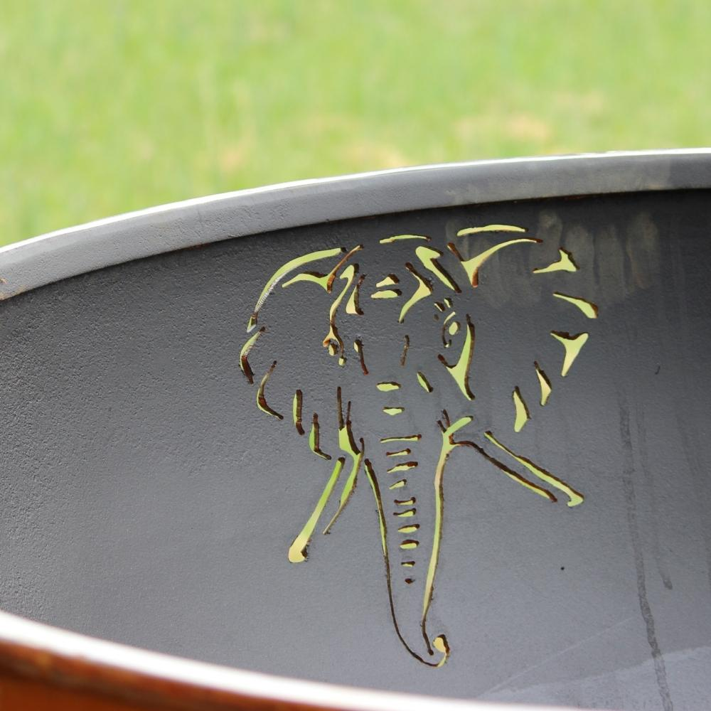 Elephant Design of Fire Pit Art Africa's Big Five