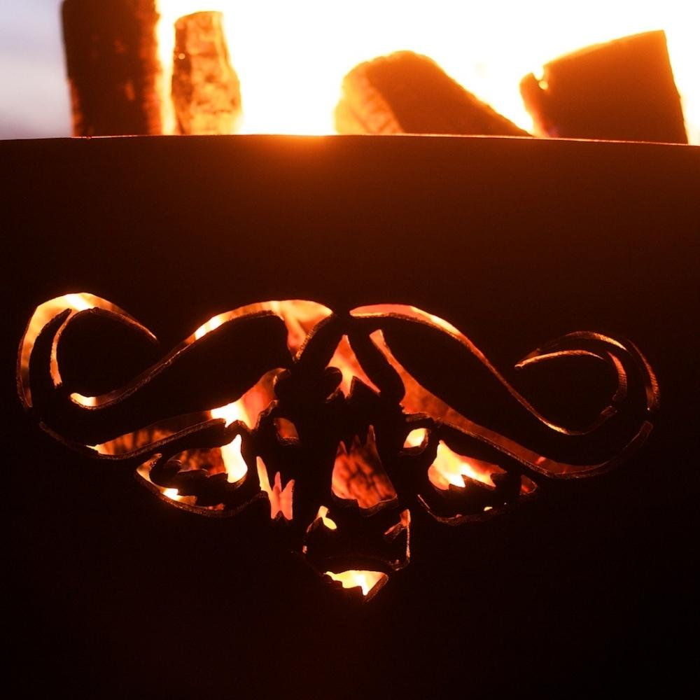 Cape Buffalo Design of Fire Pit Art Africa's Big Five With Burning Logs