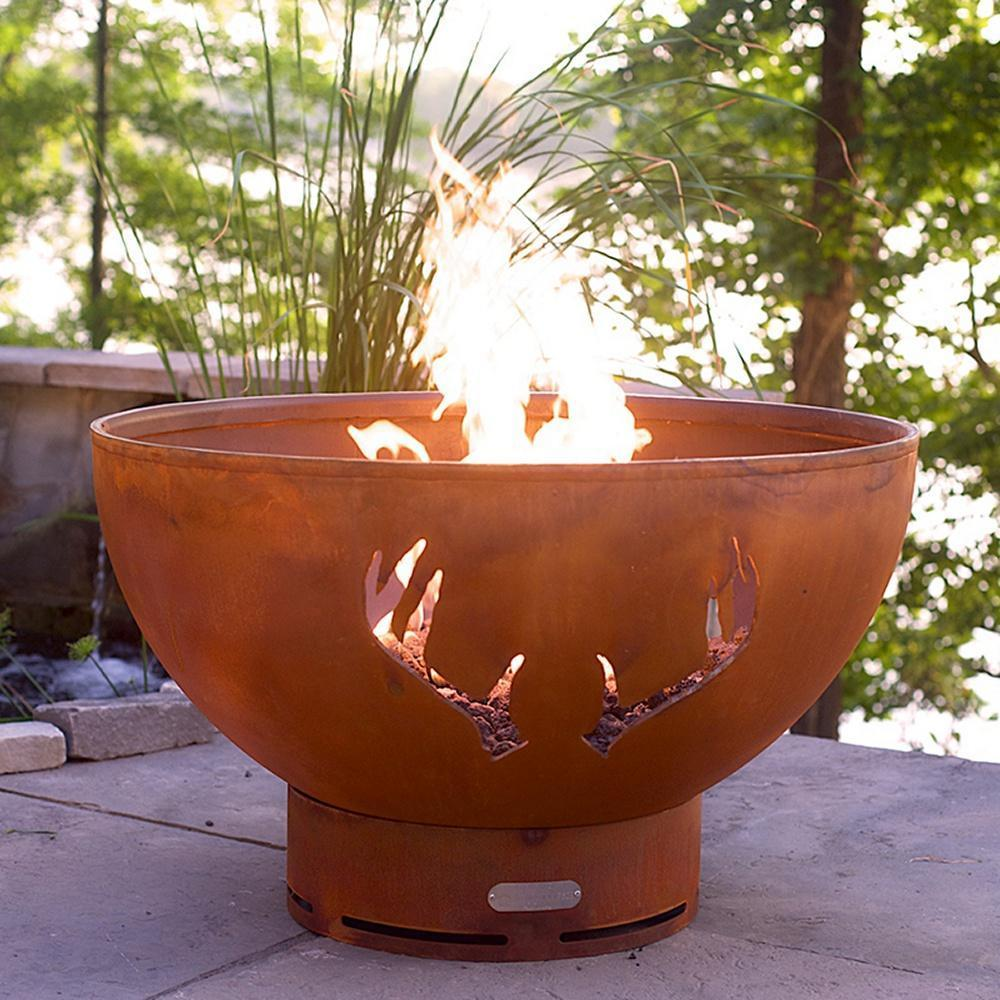 "Fire Pit Art Antlers - 36"" Handcrafted Carbon Steel Gas Fire Pit"
