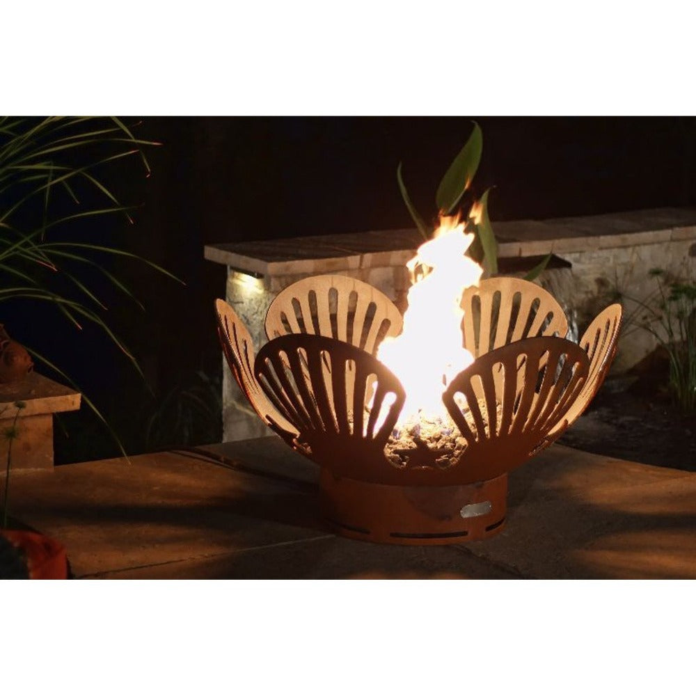 "Fire Pit Art Barefoot Beach - 41"" Handcrafted Carbon Steel Gas Fire Pit"