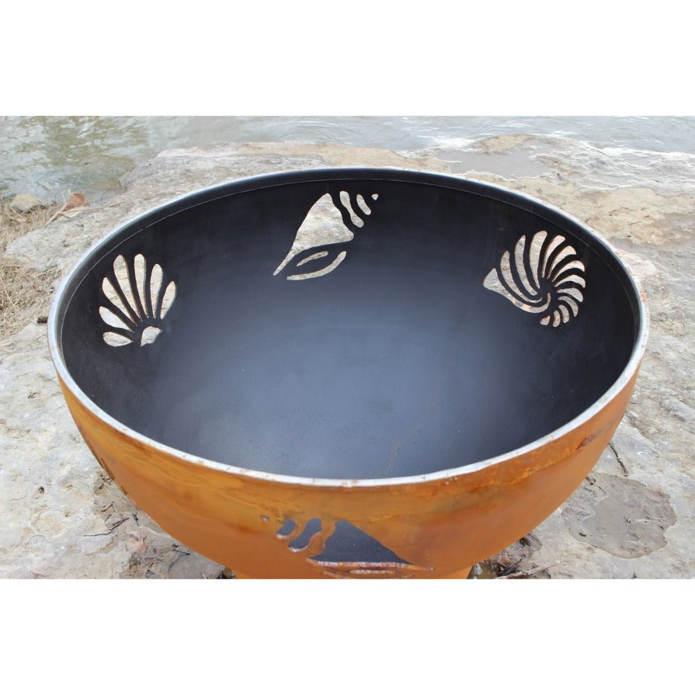 "Fire Pit Art Beachcomber - 36"" Handcrafted Carbon Steel Gas Fire Pit"