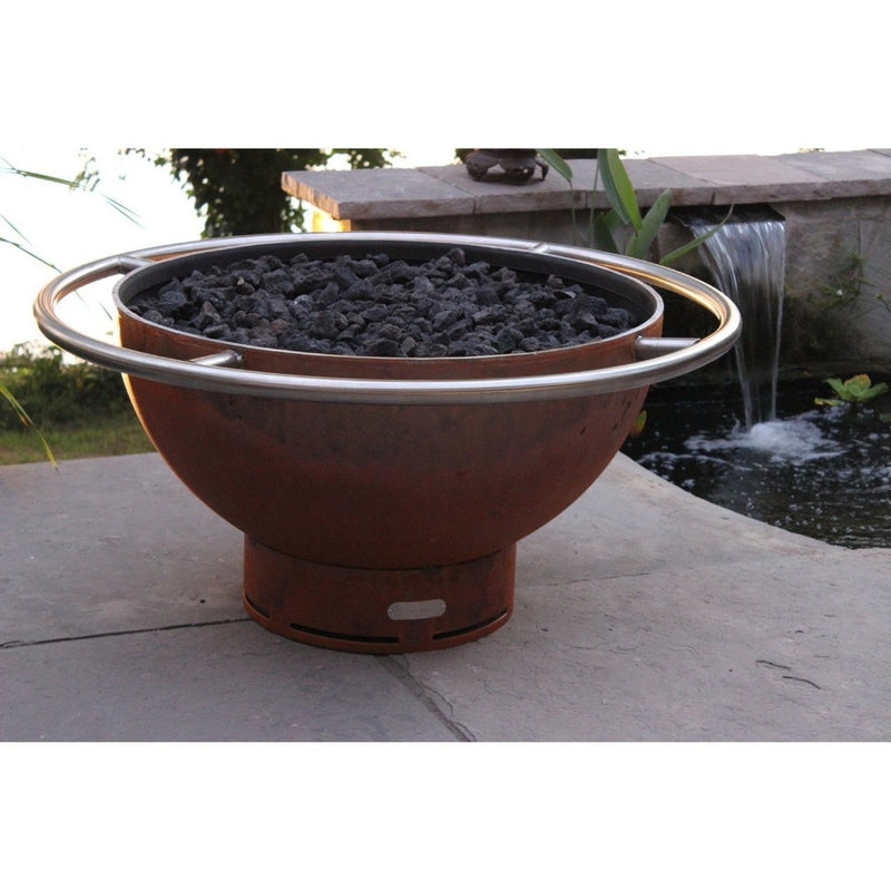 "Fire Pit Art Bella Luna - 36"" Handcrafted Carbon Steel Gas Fire Pit"