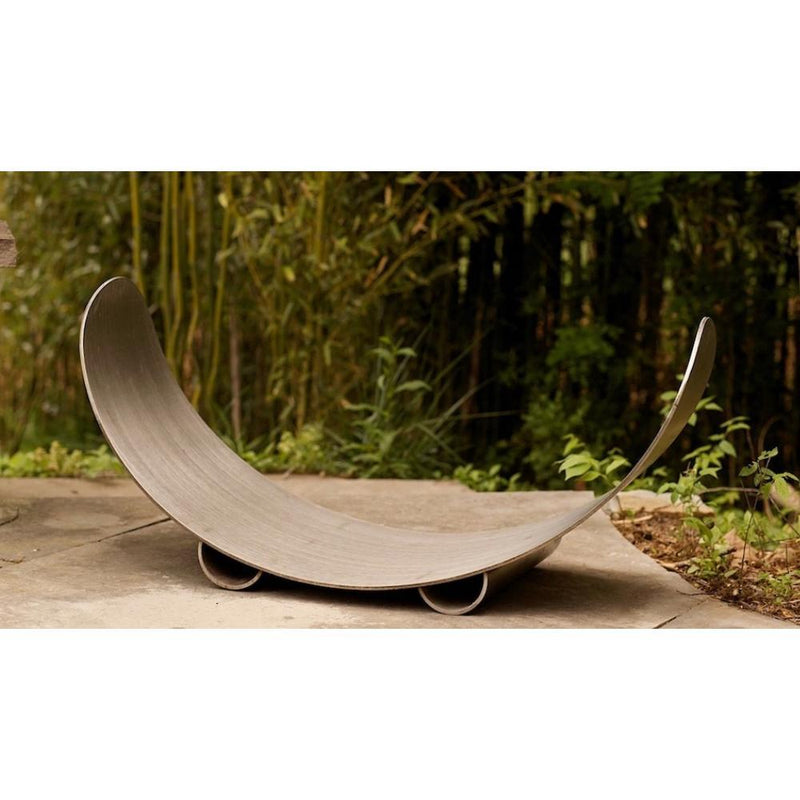 Fire Pit Art Crescent Log Rack in Stainless Steel (CRLR-Stainless)