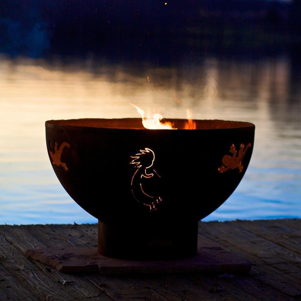 "Fire Pit Art Kokopelli - 36"" Handcrafted Carbon Steel Gas Fire Pit"