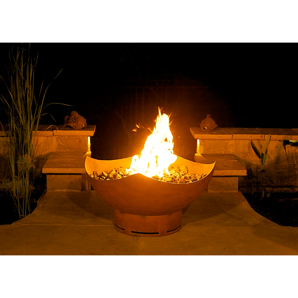 "Fire Pit Art Manta Ray - 36"" Handcrafted Carbon Steel Gas Fire Pit"