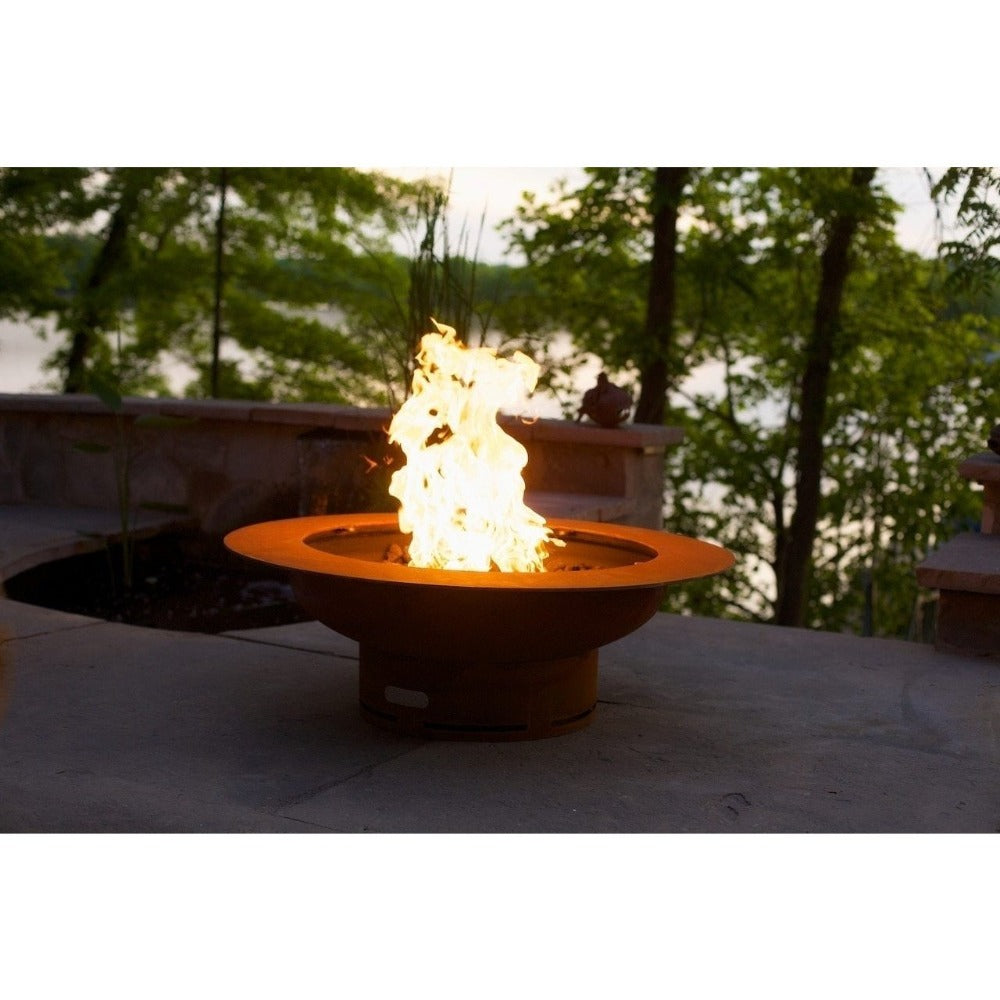 "Fire Pit Art Saturn - 40"" Handcrafted Carbon Steel Gas Fire Pit"