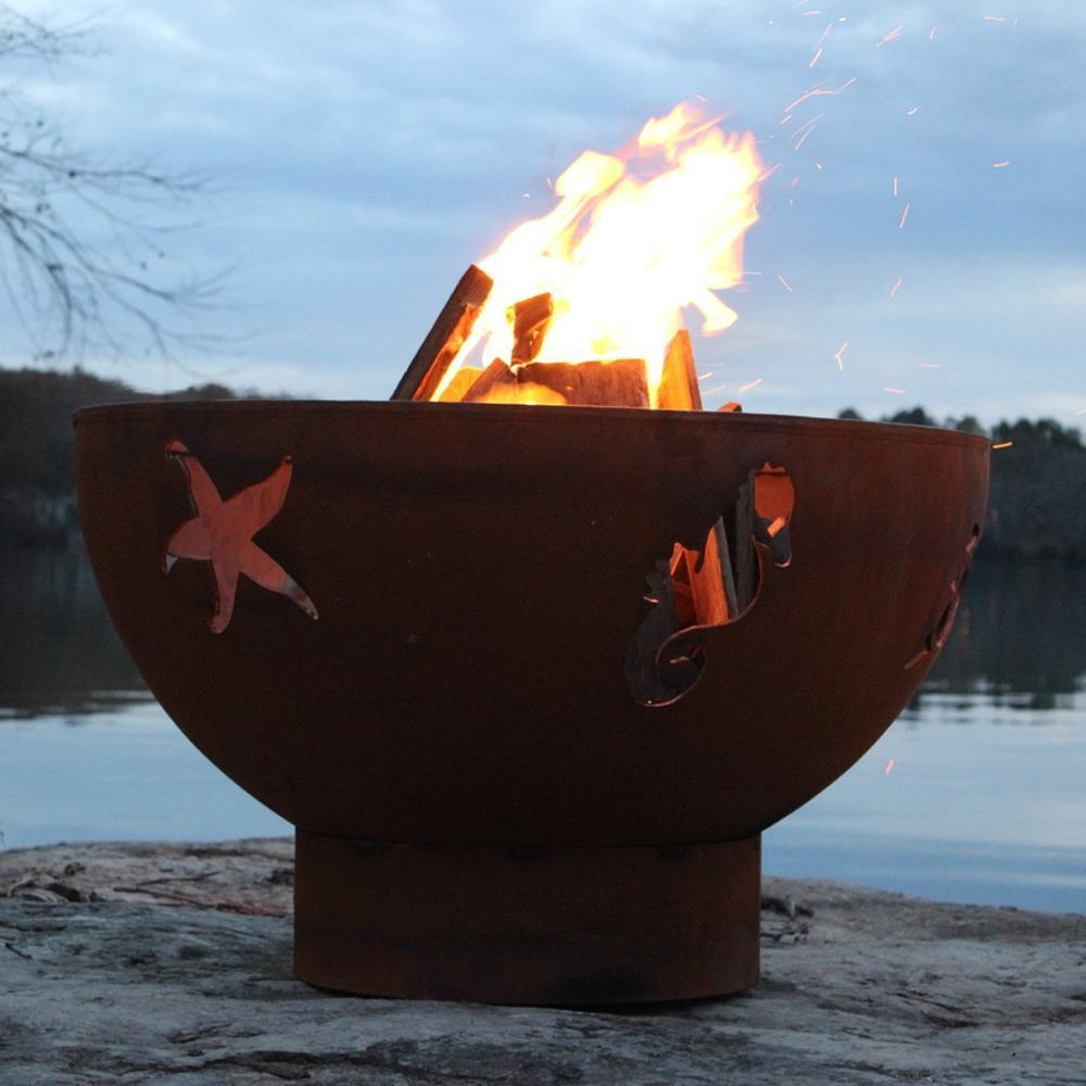 "Fire Pit Art Sea Creatures - 36"" Handcrafted Carbon Steel Gas Fire Pit"