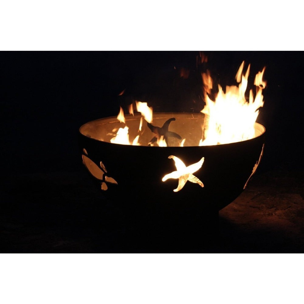 "Fire Pit Art Sea Creatures - 36"" Handcrafted Carbon Steel Gas Fire"