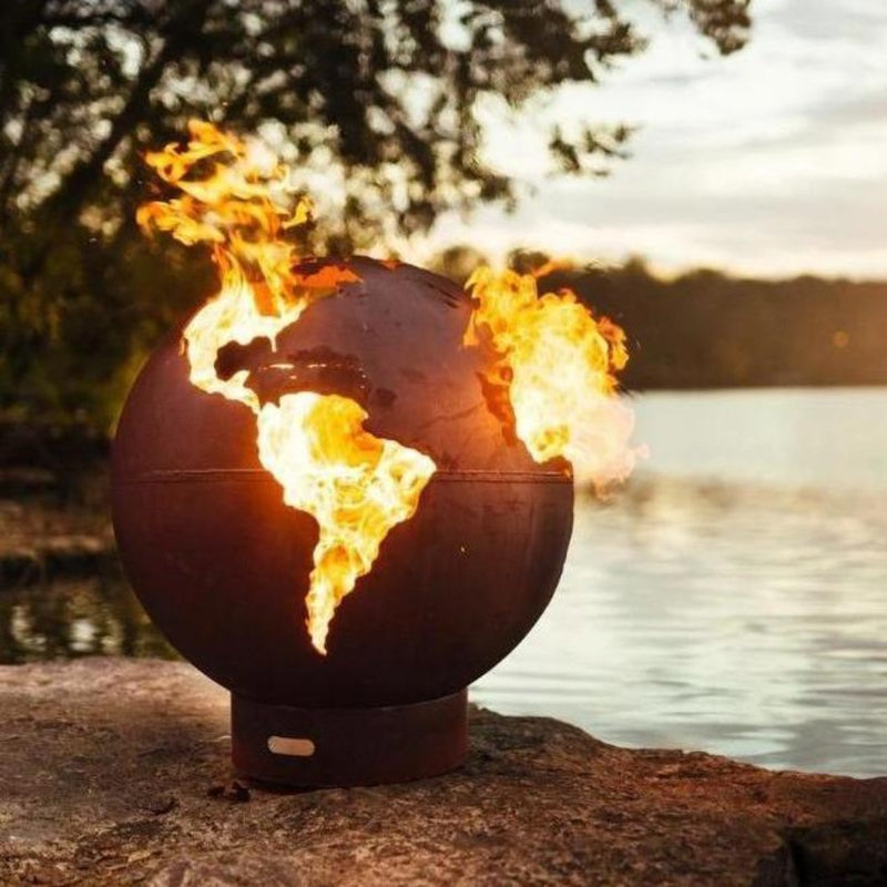 "Fire Pit Art Third Rock - Globe Shaped 36"" Carbon Steel Fire Pit (TR)"
