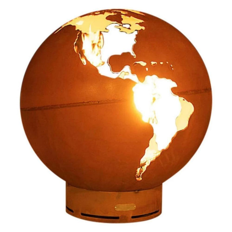 "Fire Pit Art Third Rock - Globe Shaped 36"" Handcrafted Carbon Steel Fire Pit (TR)"