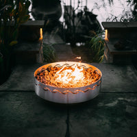 "Fire Surfer by Fire Pit Art - 30"" Handcrafted Stainless Steel Gas Fire Pit"