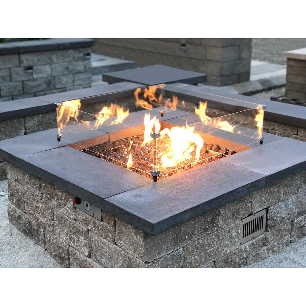 Square Fire Pit with Glass Wind Shield