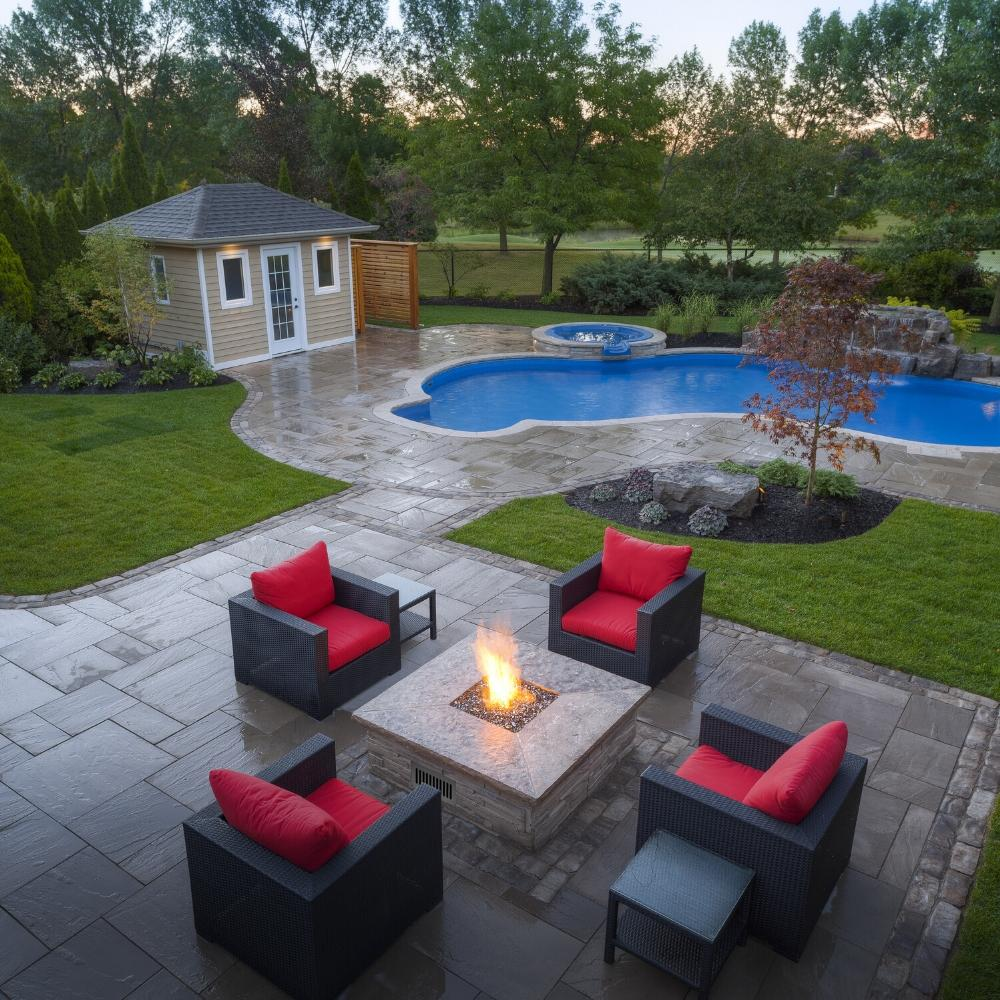 Square Fire Pit in Poolside Patio