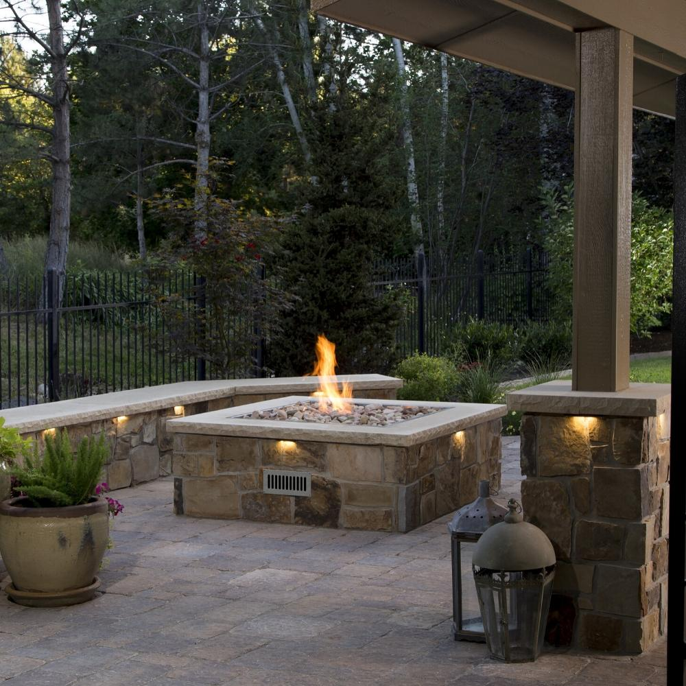 Square Fire Pit in Outdoor Area