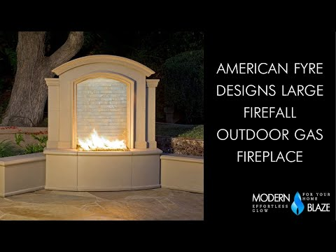 "American Fyre Designs Large Firefall 65"" Free Standing Gas Fireplace with Artisan Glass Video"