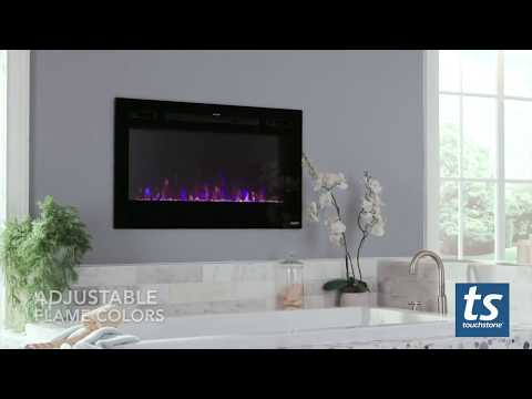 Touchstone Sideline Electric Fireplace Installed in a Bathroom