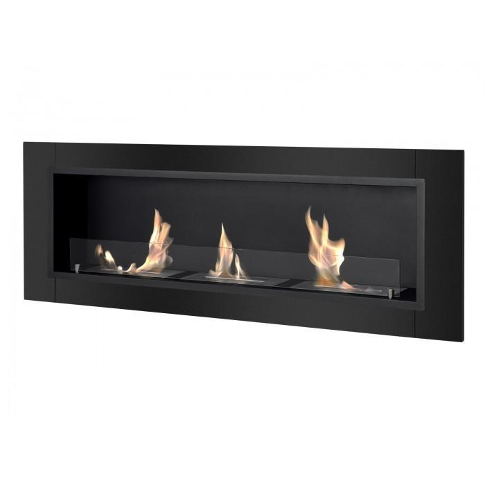 "Ignis Ardella - 55"" Built-in/Wall Mounted Ethanol Fireplace in Black"