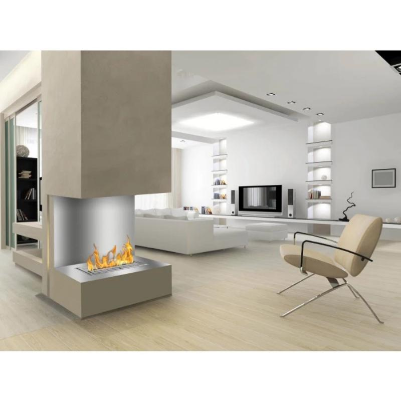 "Ignis C-Shaped Ethanol Firebox - Built-in 3-Sided Ventless Fireplace, Sizes: 39""-78"""