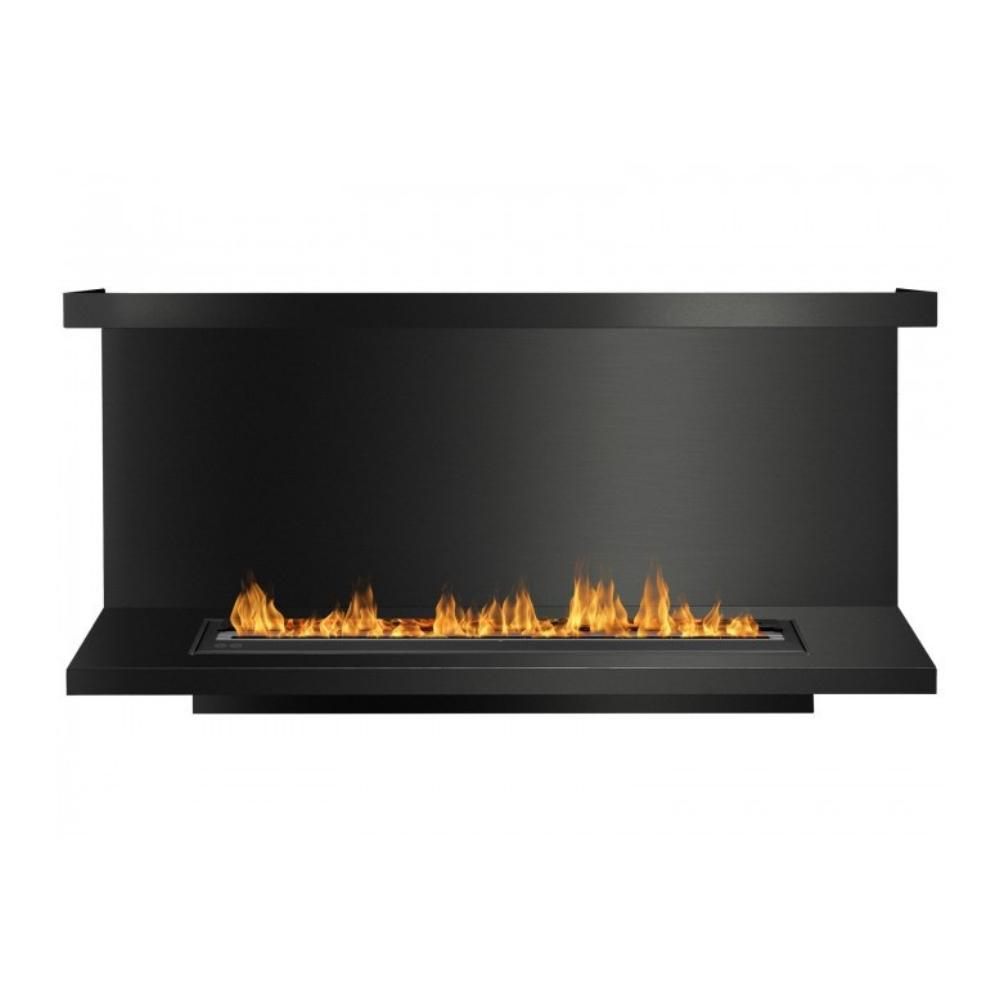 "Ignis C-Shaped Ethanol Firebox - 64"" Built-in 3-Sided Black Fireplace Insert"