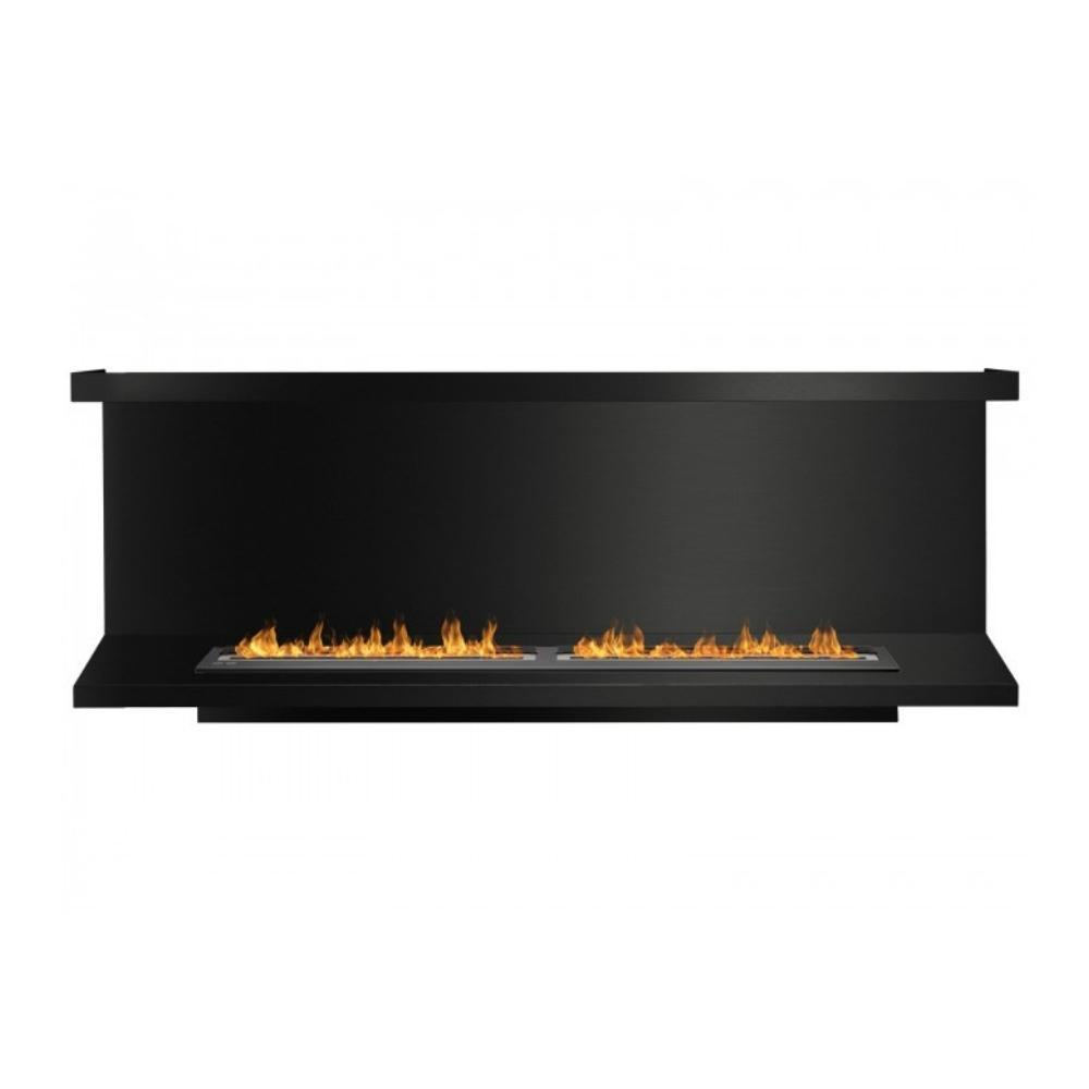 "Ignis C-Shaped Ethanol Firebox - 78"" Built-in 3-Sided Black Fireplace Insert"