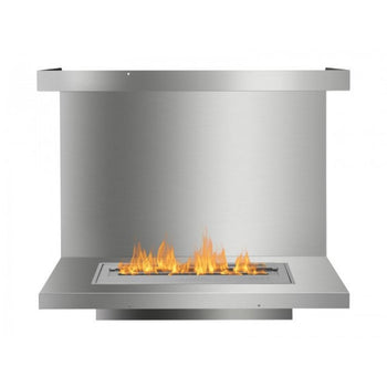 Ignis C-Shaped Ethanol Firebox - Built-in 3-Sided Stainless Steel Fireplace Insert
