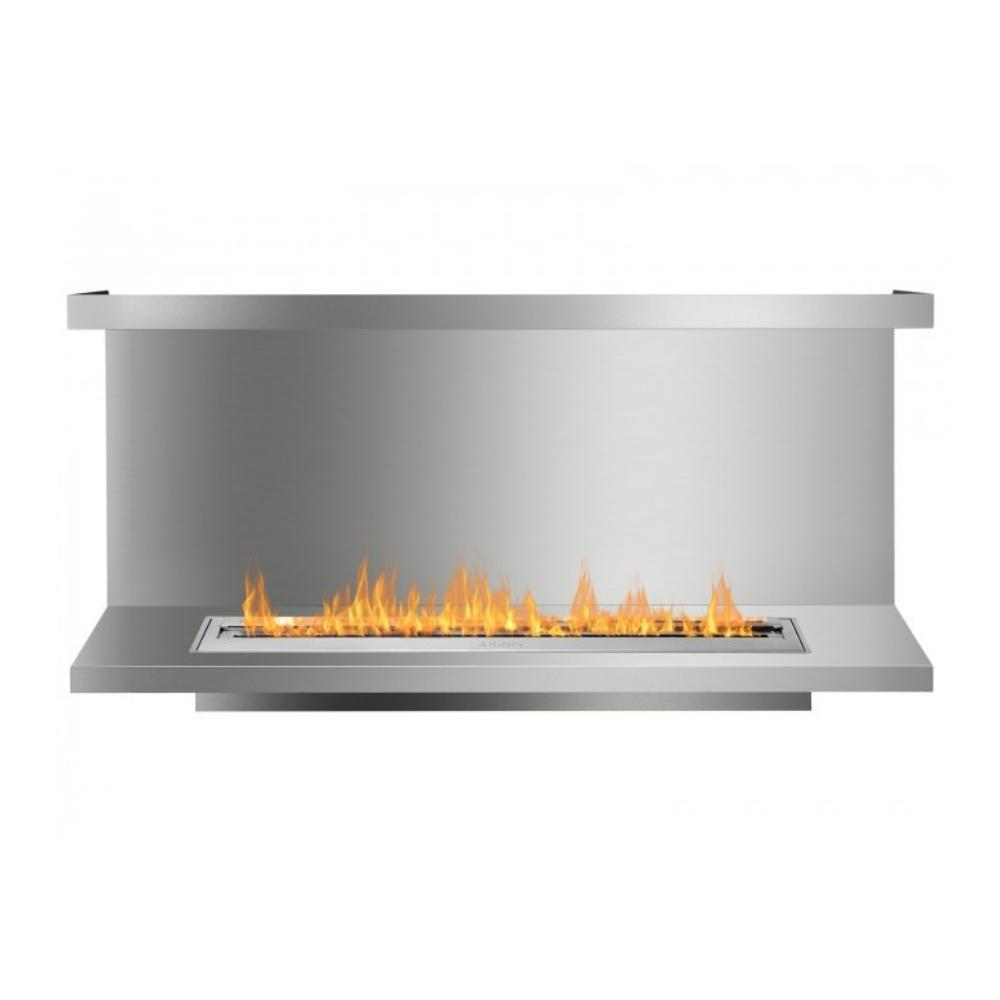 "Ignis C-Shaped Ethanol Firebox - 64"" Built-in 3-Sided Stainless Steel Fireplace Insert"