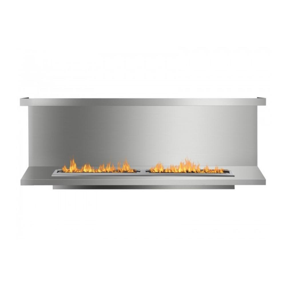 "Ignis C-Shaped Ethanol Firebox - 78"" Built-in 3-Sided Stainless Steel Fireplace Insert"