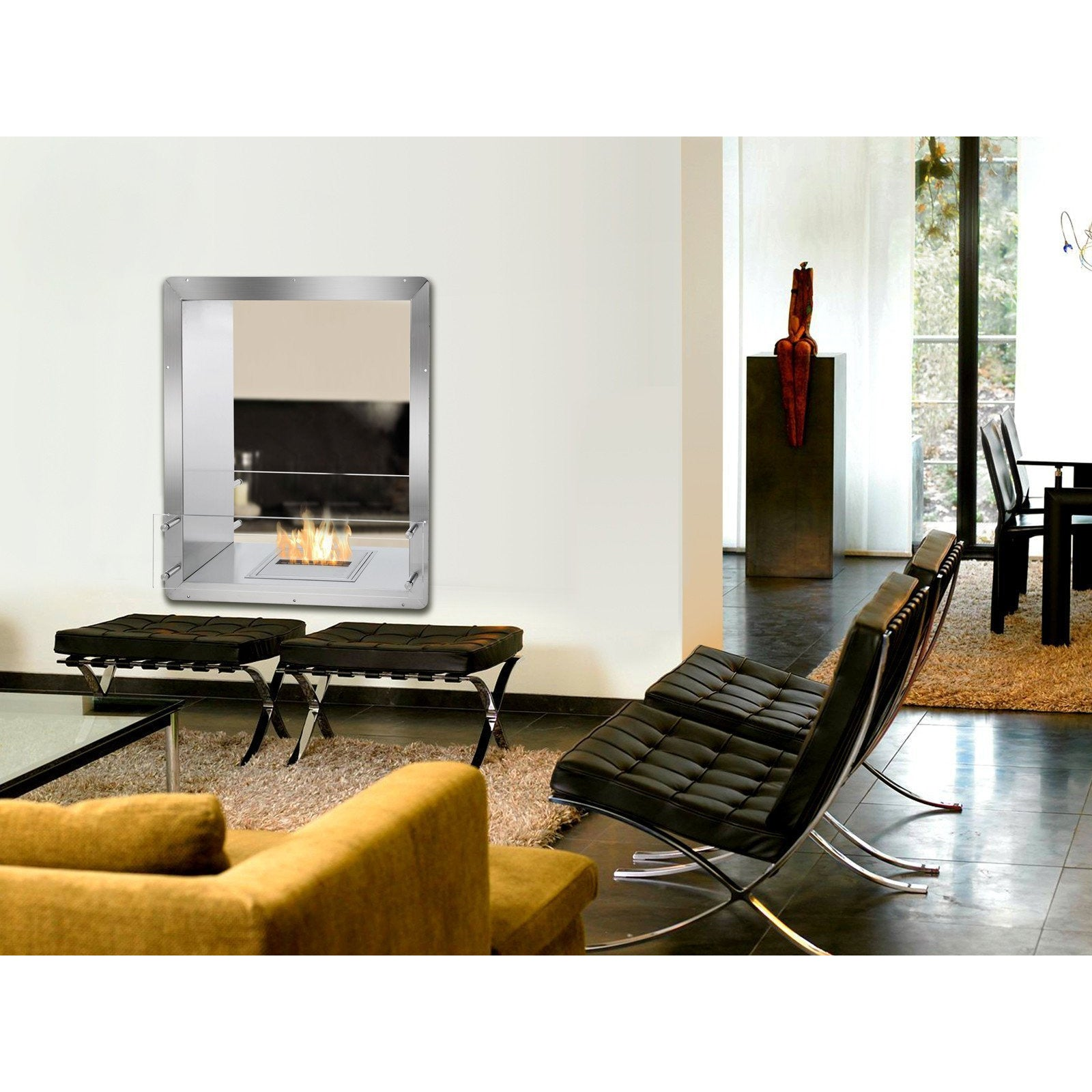 "Ethanol Firebox - Ignis Ethanol Firebox - 28"" Built-in See-Through Ventless Fireplace (FB1212-D)"