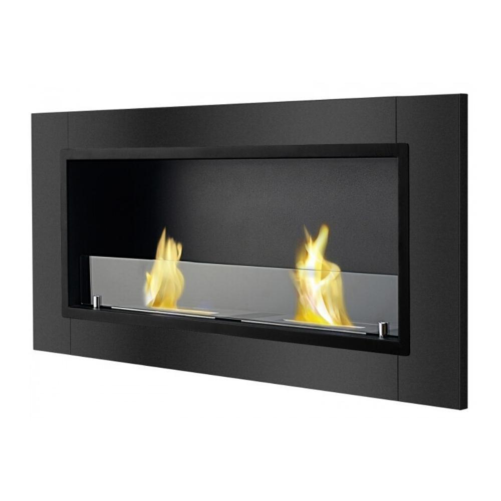"Ignis Lata - 43"" Built-in / Wall Mounted Ethanol Fireplace in Black"