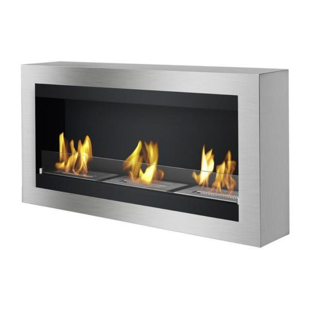 "Ethanol Fireplace - Ignis Magnum - 44"" Wall Mounted Ethanol Fireplace (WMF-010) with front glass"