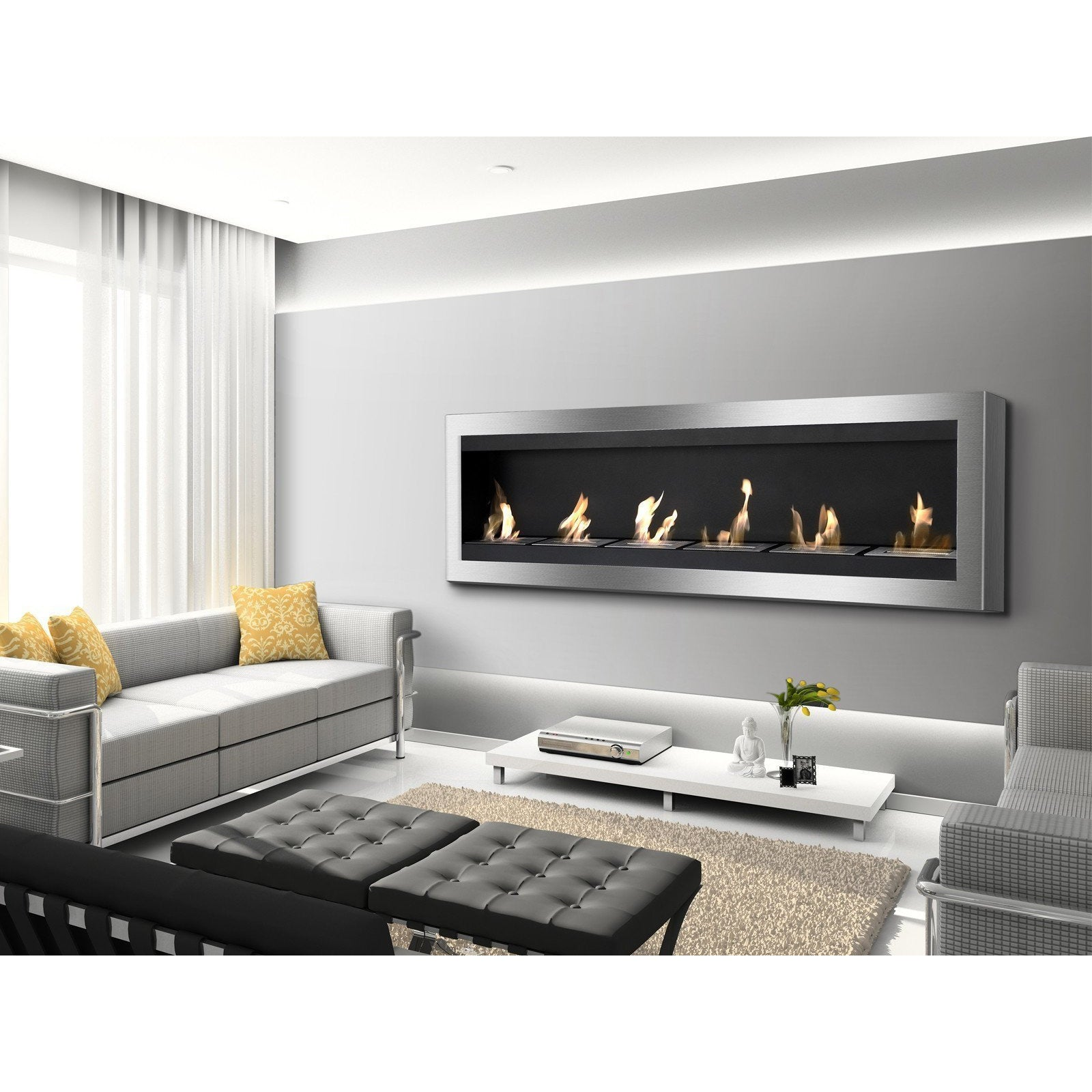 "Ethanol Fireplace - Ignis Maximum - 83"" Wall Mounted Ethanol Fireplace (WMF-012)"