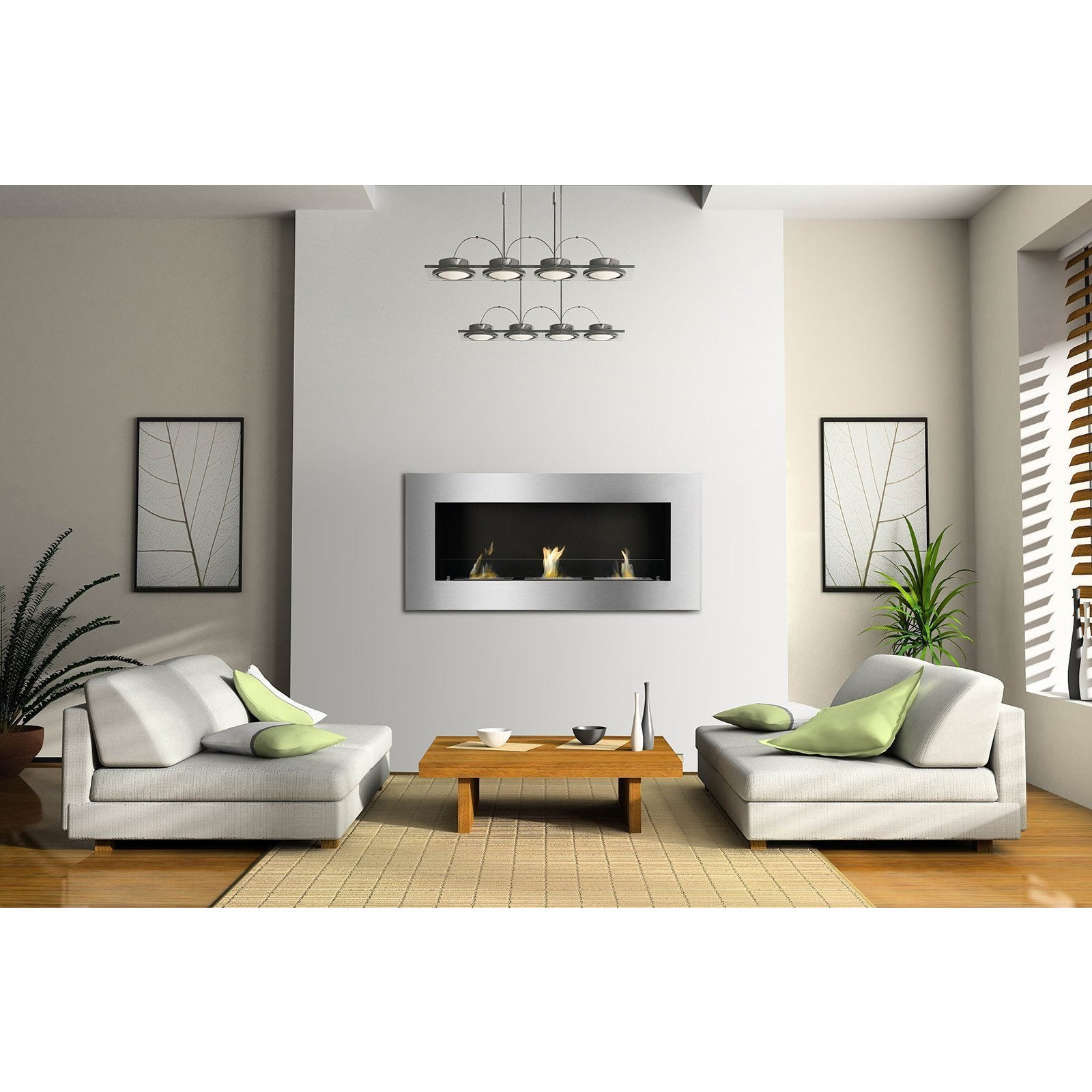 "Ethanol Fireplace - Ignis Optimum - 59"" Built-in/Wall Mounted Ethanol Fireplace (WMF-013)"