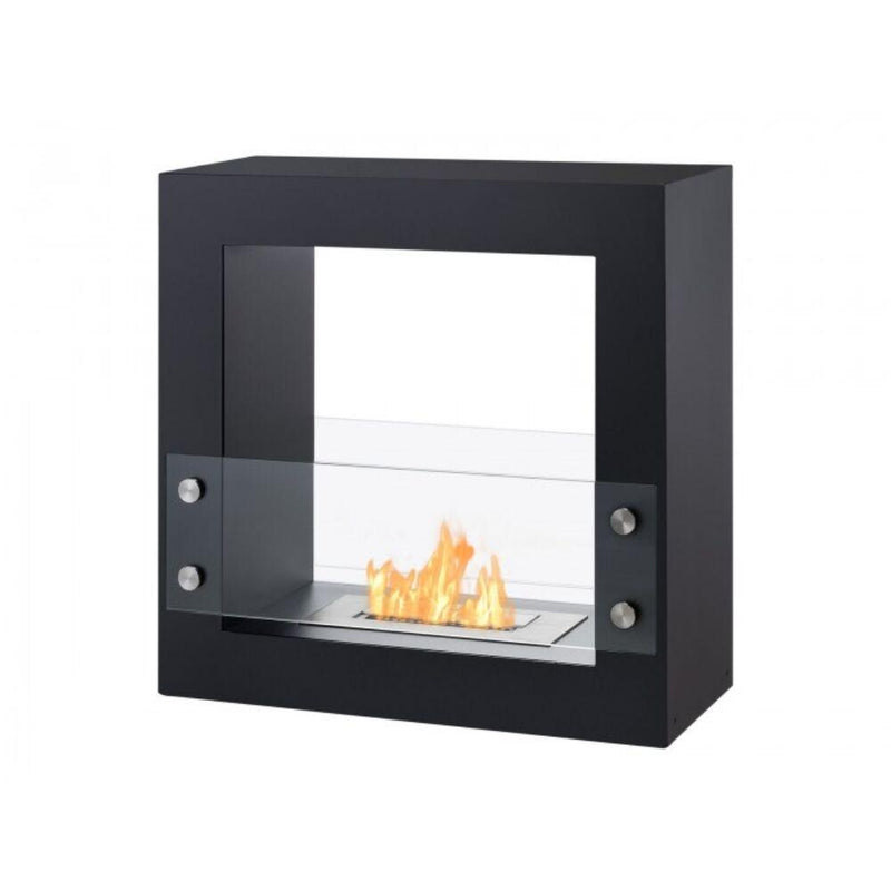 "Ethanol Fireplace - Ignis Tectum Mini Black - 24"" Free Standing Ethanol Fireplace, In/Outdoor (FSF-010)"