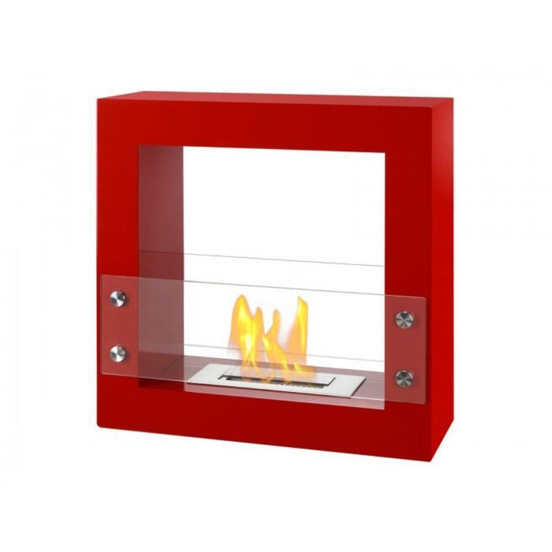 "Ethanol Fireplace - Ignis Tectum Mini Red - 24"" Free Standing Ethanol Fireplace, In/Outdoor (FSF-010R)"
