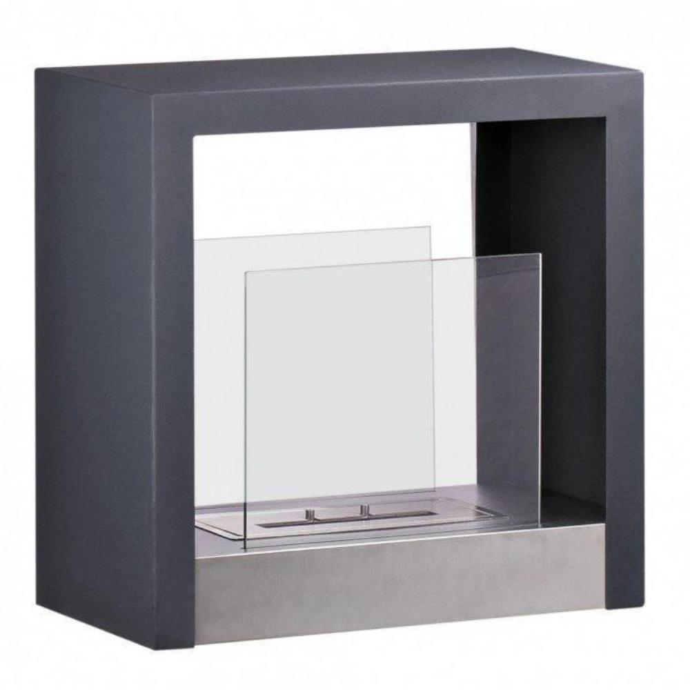 "Ethanol Fireplace - Ignis Tectum S Black - 20"" Free Standing Ethanol Fireplace, In/Outdoor (FSF-025)"