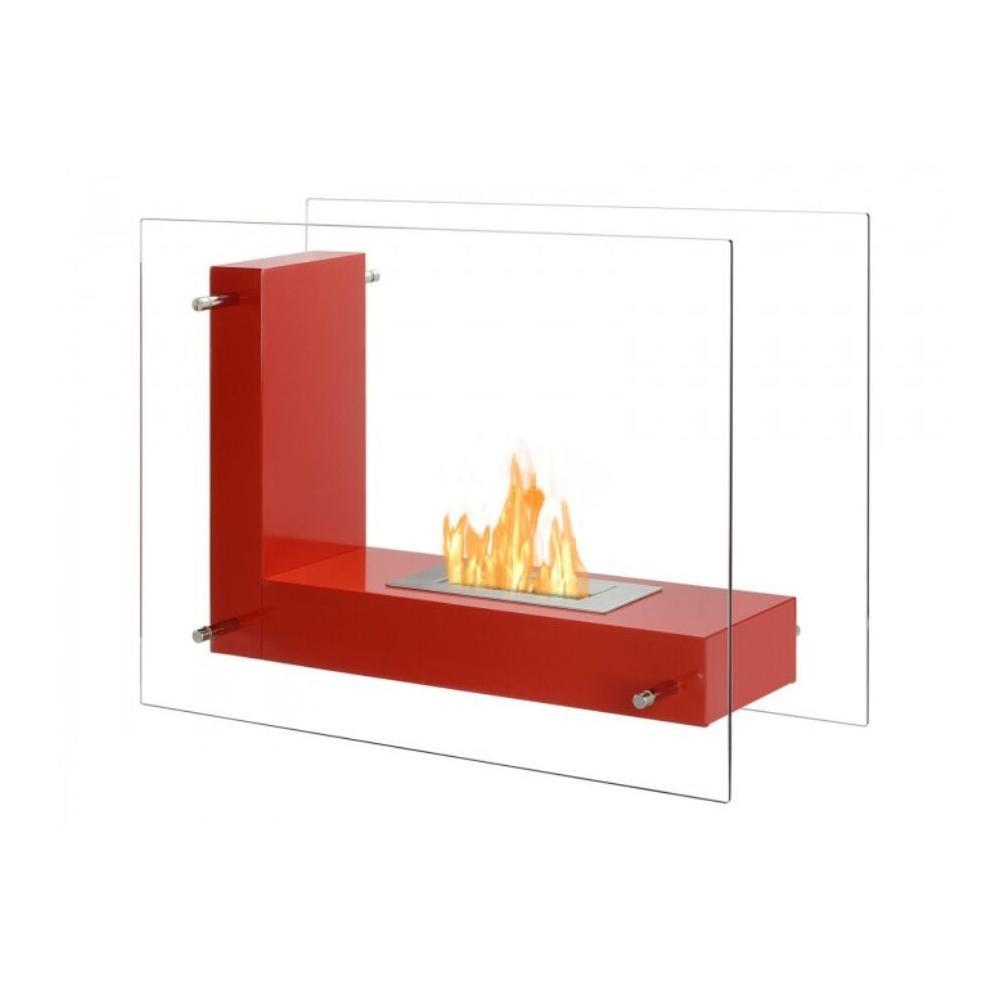 "Ignis Vitrum L Red - 32"" Free Standing Ethanol Fireplace, In/Outdoor (FSF-005R)"
