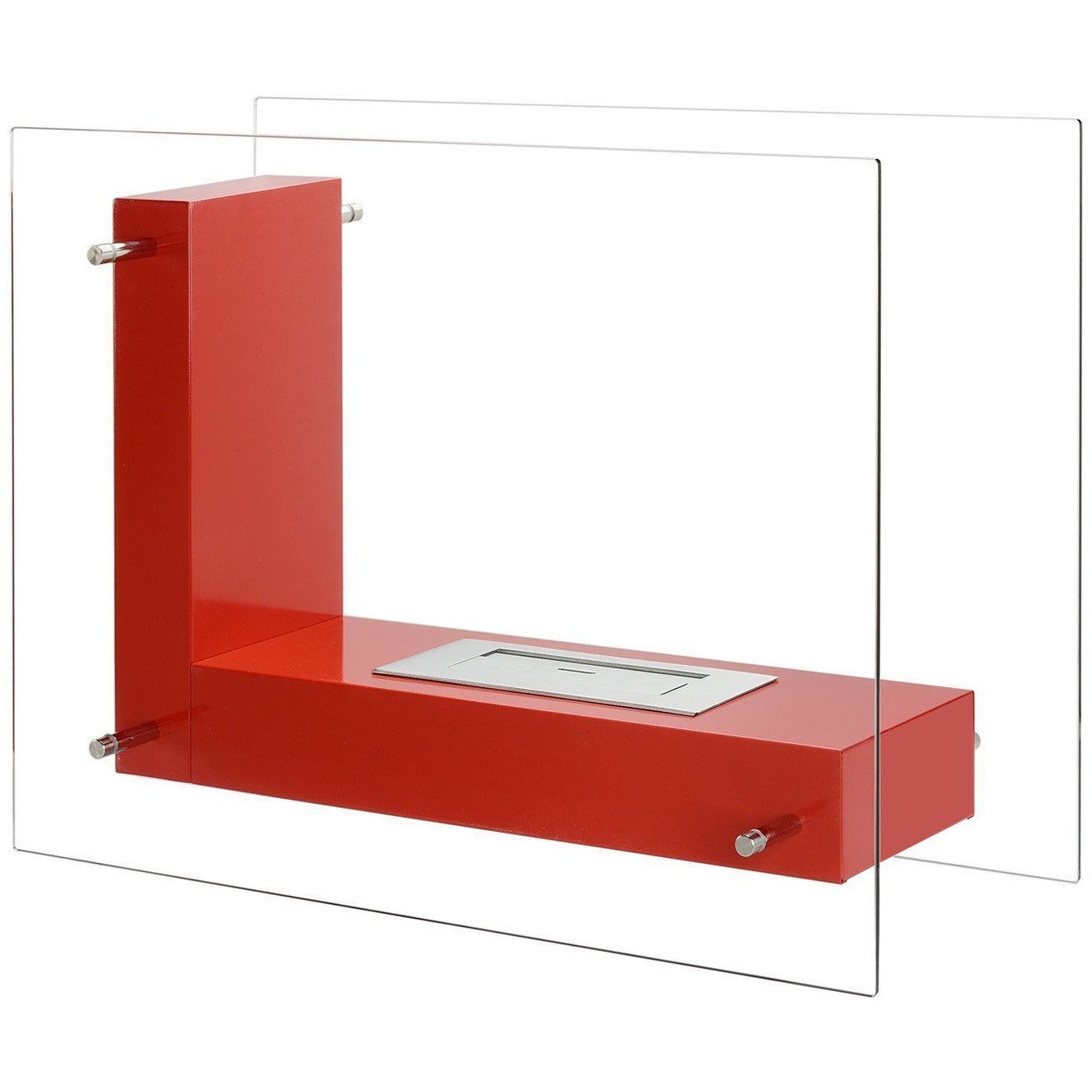 "Ethanol Fireplace - Ignis Vitrum L Red - 32"" Free Standing Ethanol Fireplace, In/Outdoor (FSF-005R)"